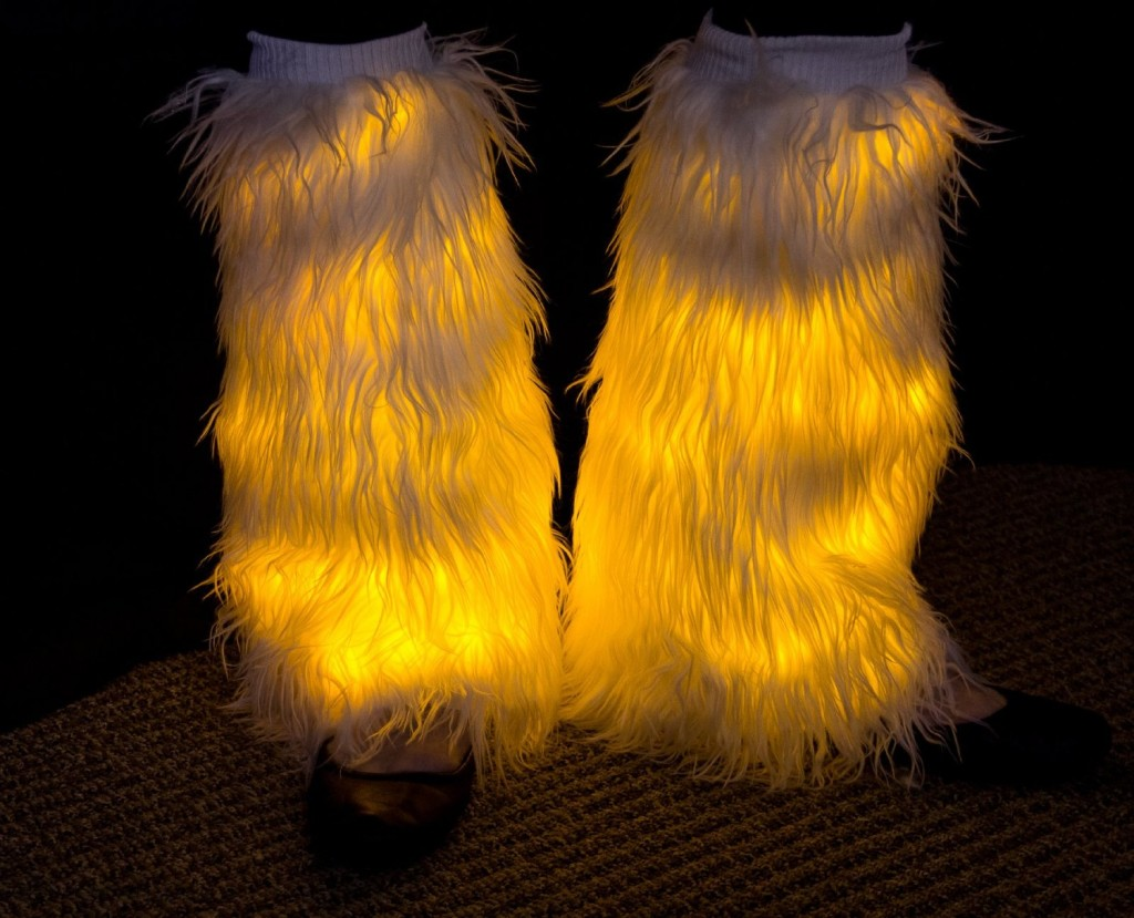 LED Light up Furry Leg Warmers – Light up Rave Fluffies (Yellow Color)
